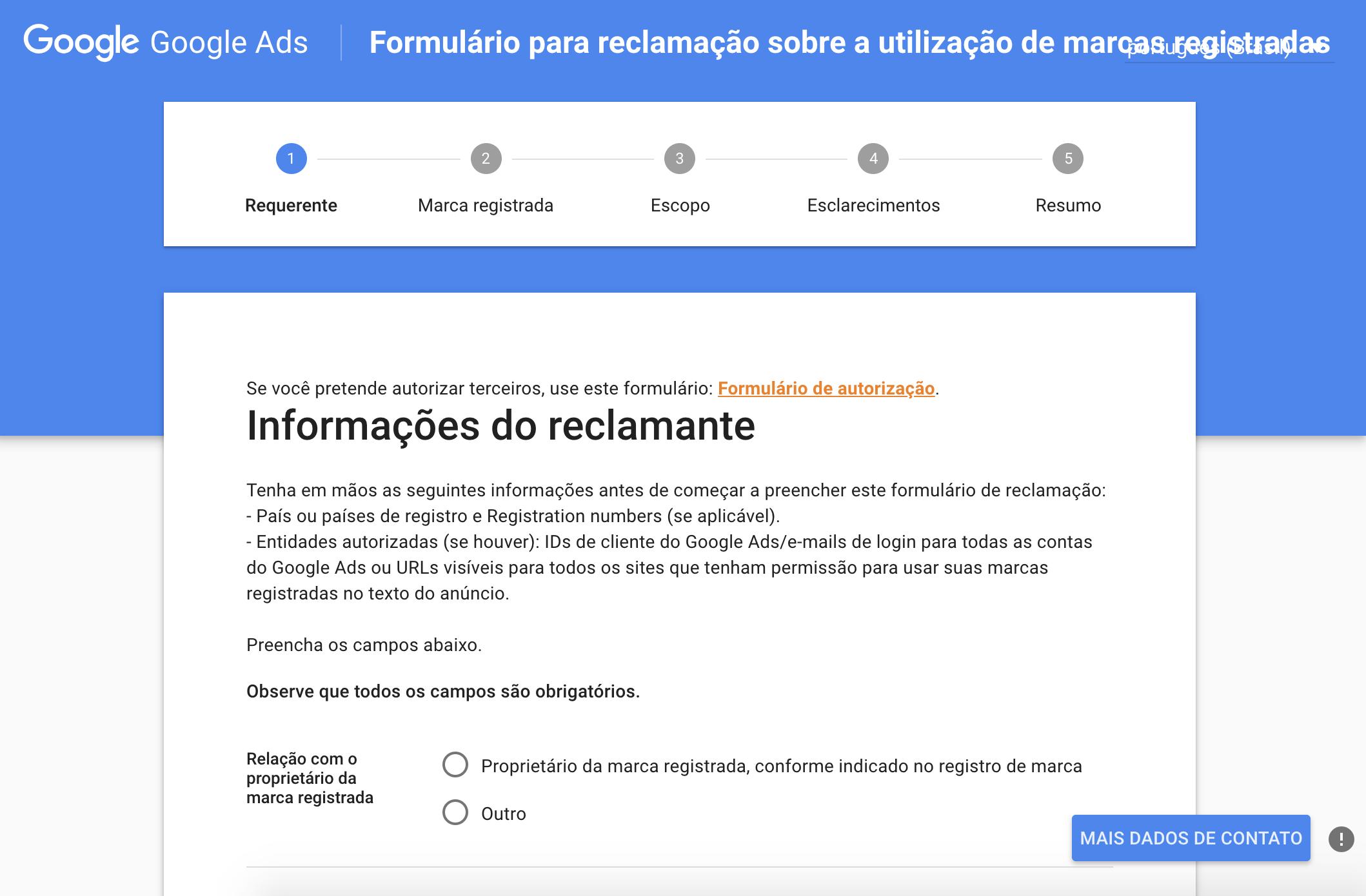 formulário google ads